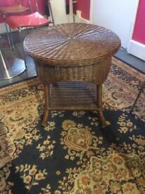 Dark wood wicker table