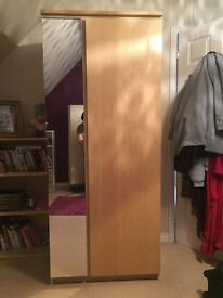 IKEA double wardrobe with long mirror and inside shelf