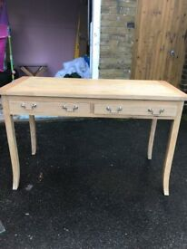Very attractive solid wood desk or vanity table with two draws