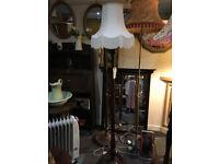 Stunning Vintage Decorative Turned Mahogany Standard Lamp with Ivory Fringe Shade