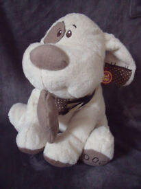 Keel Toys Cuddles Collection large cream/brown soft, plush toy puppy dog, bone & dribble bib.£5 ovno