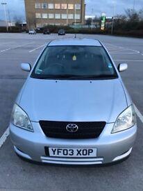Toyota Corolla 1.6 5DR 2003 12 Month MOT