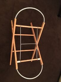 Mothercare White Moses Basket and Stand - Like new
