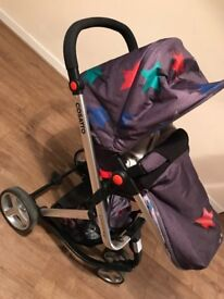 Grey megastar cosatto pram, like new carrycot hasn't be removed from wrappers