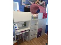 Girls storage bed with desk and wardrobe