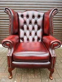 Chesterfield genuine leather 3seater queen Anne wingback chair. IMMACULATE CONDITION! BARGAIN!