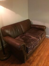 2 Seater Aged Leather Vintage Style Sofa by Tetrad