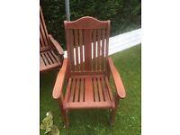 5X wooden garden chairs
