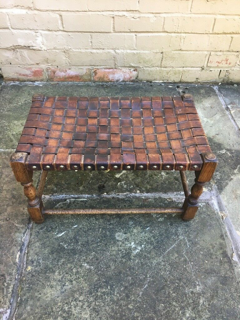 Enjoyable Leather Woven Vintage Stool In Congleton Cheshire Gumtree Machost Co Dining Chair Design Ideas Machostcouk