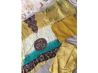 Asian clothing. Mustard colour party shalwar suit. Unstitched.