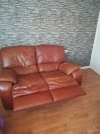 Leather two piece Sofa