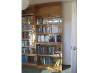 Phoenix 1960's glass-fronted wooden book cases.
