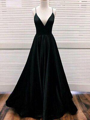 Long Black Satin Evening Gown S M L w Slit Floor Length V-neck - US STOCK Strap Neck Floor