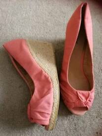 Pink peep toe wedges