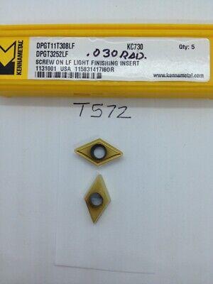 5 New Kennametal Dpgt 32.52lf Carbide Inserts. Grade Kc730. T572