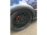 Alloy wheels 15in bbs vw 5 stud in black with 4 good tyres