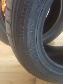 2 brand new tyres size 215/55ZR16 97W