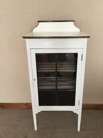 Edwardian Antique white display cabinet with 2 shelves good order 53cm length 36 wide 110cm height