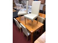 Pine table and 4 Cream leather chairs