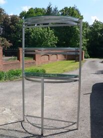 3-Tier Satin Steel and Glass Shelf Unit £20 - Can Deliver