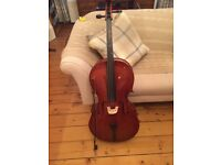 3/4 size cello with case and bow