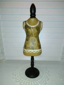 NEXT, FRENCH CORSET STYLE JEWELLERY MANNEQUIN, ON WOOD STAND SIZE 17 INCHES HIGH