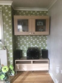 Ikea wall unit with lights and matching freestanding tv unit