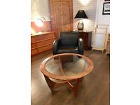 G plan retro round glass coffee table