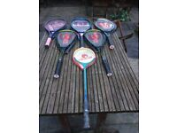 An assortment of rackets for sale
