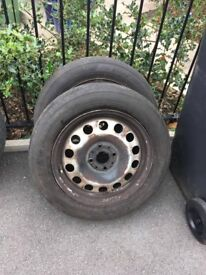 Pair of Mini steel wheels with excellent matching tyres 175/65 r 15 4 stud wheels