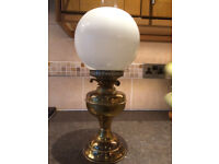 VINTGE BRASS OIL LAMP WITH ROUND GLASS SHADE