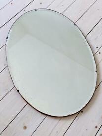 Large vintage antique frameless bevelled mirror Art Deco mid century
