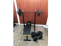 LikeNew Folding Bench & Weights Set. •Can Deliver•