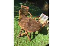 Outdoor Teak table with 2 chairs