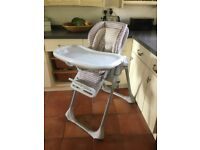 Chicco height adjustable high chair with table and inner cushions little use clean and in good order