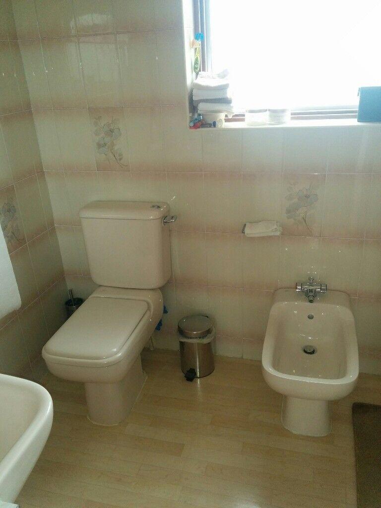 Bathroom suite sink, toilet, bidet, whisper peach / pink ...