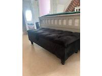 Black ottoman storage bench