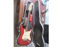 Fender Squier Strat electric guitar and case