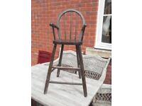 Beautiful high chair oak dark stained really useful