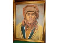 Oil painting of African(?) woman by Richard Procter Dugdale (1913-1989).