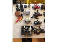 Job lot of old fishing reels 34 in total