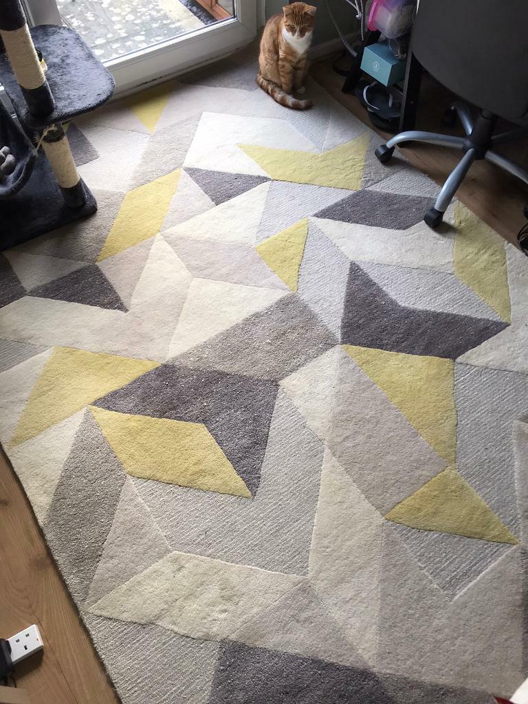 John Lewis Geometric Grey Yellow Print