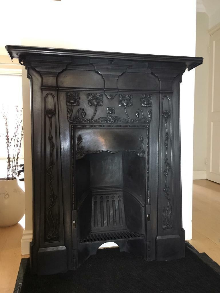 Victorian Cast Iron Fireplace Antique