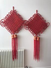 Chinese Asian Oriental Red Hanging Lucky Rope Decorations