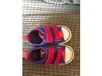 Girls purple and pink converse pumps size 6
