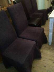 SET OF SIX SKIRTED, HIGH BACKED PADDED DINING CHAIRS