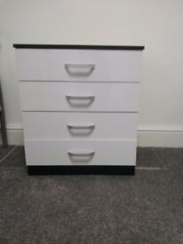 High Gloss White Black Chest of Drawers 4 Drawers