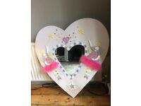 Pink Heart Shaped Bedroom Mirror