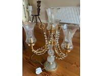 Ornate brass and glass lamp