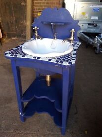 Ceramic Sink with brass taps mosaic decor mounted on two tier wooden tile top st